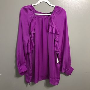 NWT Eloquii Ruffle Long Sleeve Top Size 20
